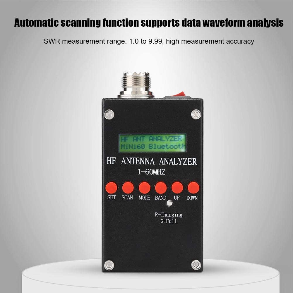 Garsent Antenna Analyzer Mini60 ANT SWR LCD Display 1-60MHz Antenna Meter Tester Typical Adjustable for Ham Radio
