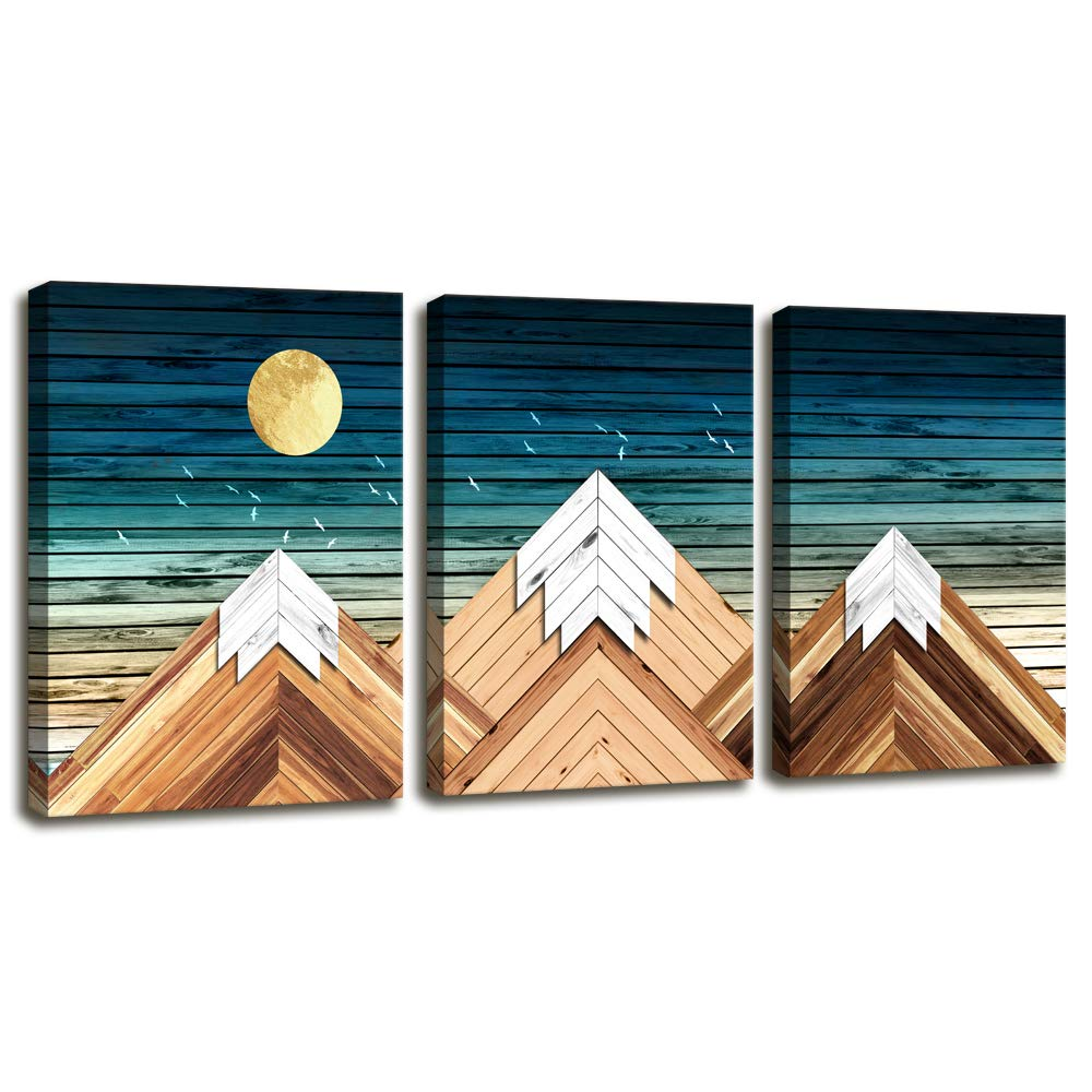 Geometric Mountain Canvas Wall Art for Office Bedroom,Rustic Wall Decor for Living Room Blue Sky Mountain on Wood Style Background,3 Piece Giclee Print Gallery Wrap Framed Rustic Home Decor Artwork