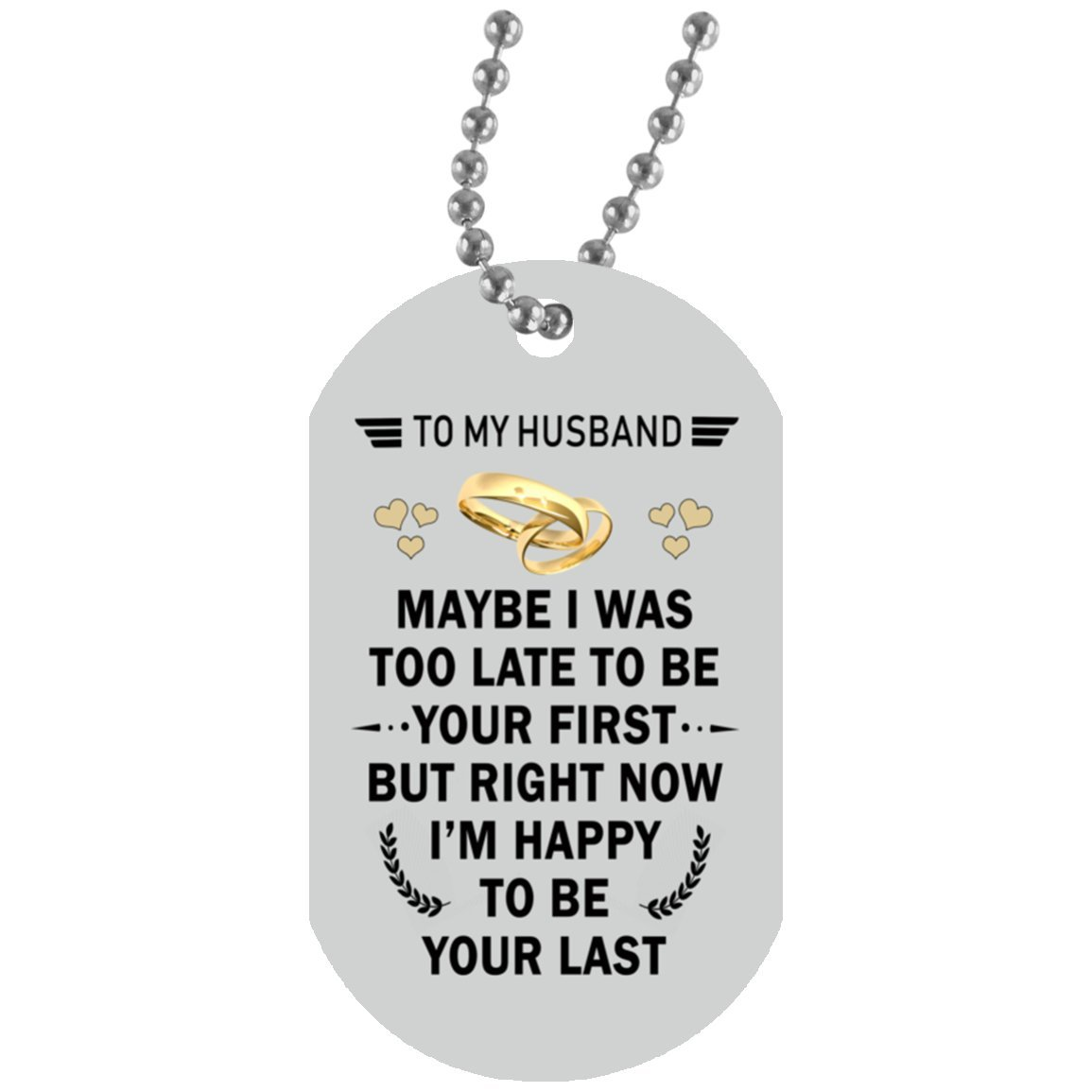 Wife and Husband Dog Tag necklace - my Husband angel necklace from Wife - Great Gift for Your Husband, On Wedding day, 30 inch silver beaded chain included with purchase