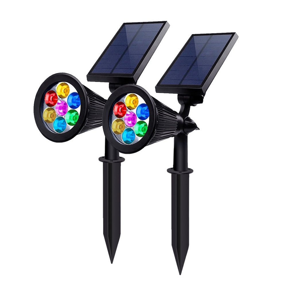 PEMENOL Solar Powered Spotlights 7 Color LED Landscape Lights Solar lights Outdoor 2 in 1 Adjustable Auto-on/off Waterproof Security Wall Lighting for Garden, Patio, Driveway,Yard, (Pack of 2)
