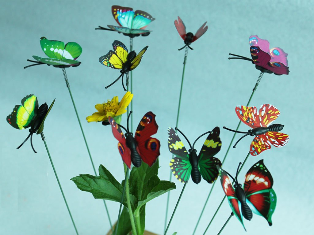 Amazon.com : 24 Pcs Set Garden Ornament Colorful Butterfly Yard ...