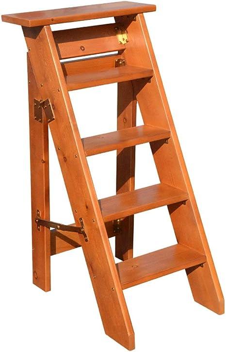 QQXX Escalera de Cinco escalones Madera de Pino multipropósito Un Lado Decoración Plegable Hogar Ático móvil Escaleras, 4 Colores, Alto 100 cm (Color: D, Tamaño: 100 cm): Amazon.es: Hogar