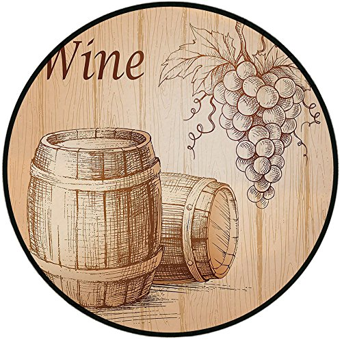 Printing Round Rug,Wine,Wooden Barrels and Bunch of Grapes on Wood Backdrop Botany Harvest Theme Artwork Decorative Mat Non-Slip Soft Entrance Mat Door Floor Rug Area Rug For Chair Living Room,Brown P - Grape Round Rug
