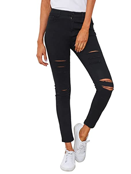 official site buy bright n colour SweatyRocks Women's Casual High Waist Ripped Skinny Jeans Distressed Denim  Pants