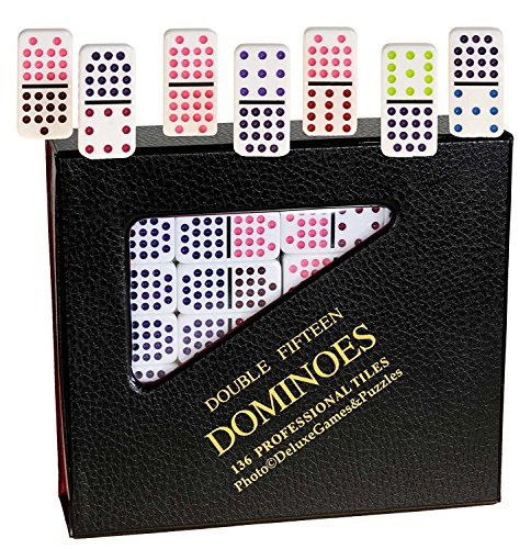 Dominoes Double 15, Solid White with DOTS/PIPS, 136 Professional Size Dominoes in Dark Vinyl Case _ Quality Dominoes Only _ NO Accessories. by Deluxe Games and Puzzles
