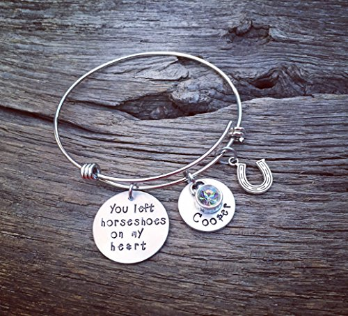 (You Left Horseshoes On My Heart Memorial Bracelet | Horse Memorial Jewelry Pet Memorial Jewelry | Rainbow Bridge Jewelry | Pet Sympathy Gift)