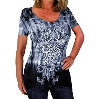 Juleya Übergroße Damen Kurzarm Tshirt Oberteil - Frauen Bluse Gothic Oberteil  Sommer Tops T-Shirt fe822c26a7