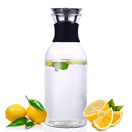 oneisall - Jarra de Agua de Cristal de 1,5 l, con Tapa de