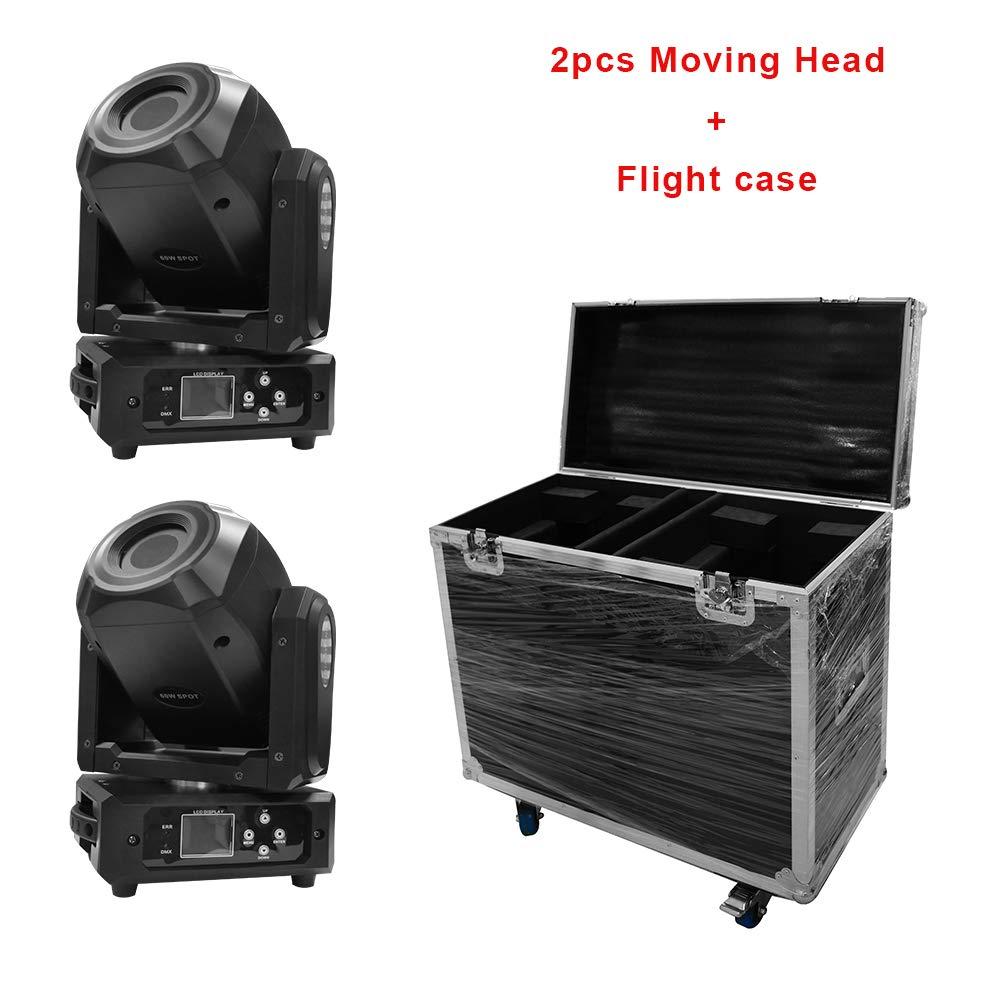 Imrelax 2ピースdj移動ヘッドライト60 wで2in1フライトケースパッケージ3ファセットプリズム回転ゴボled移動ヘッドディスコライト用ダンスホール 2pcs + 1フライトケース  B07GFF3LJZ