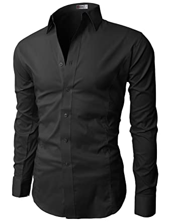 H2H Mens Classic Dress Slim Fit Shirts Breathable Long Sleeve of ...