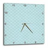 Cheap 3dRose Pretty Light Blue and White Small Diamond Damask – Wall Clock, 10 by 10-Inch (dpp_215626_1)