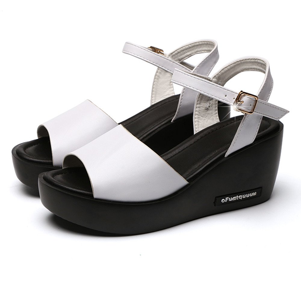 Clearance Sale Shoes For Women ,Farjing Fashion Women Fish Mouth Platform High Heels Wedges Sandals Buckle Slope Shoes(US:7.5,White) by Farjing (Image #5)