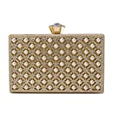Evening Clutch, Pearl Beaded Evening Bag Night Purse Handbag For Women Wedding Prom Party (Gold)
