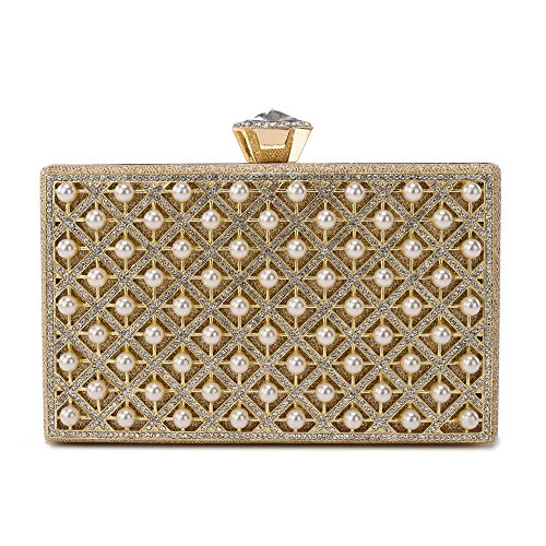 Evening Clutch, Pearl Beaded Evening Bag Night Purse Handbag For Women Wedding Prom Party ()