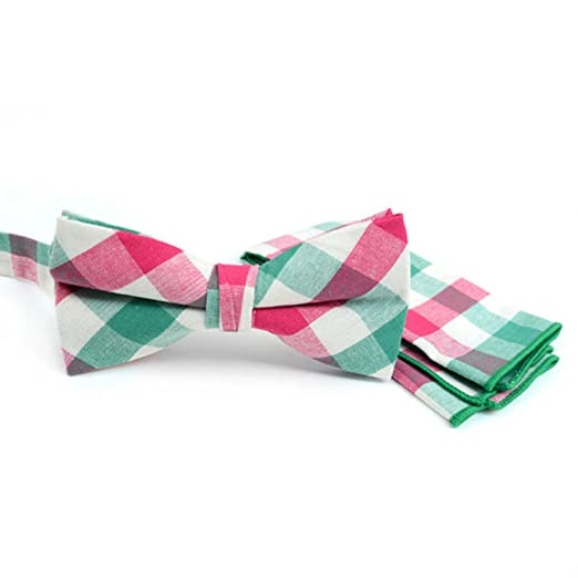 53d6866a640f Image Unavailable. Image not available for. Color: Men's Pink Green Plaid  Cotton Bow Tie & Matching Pocket Square Set