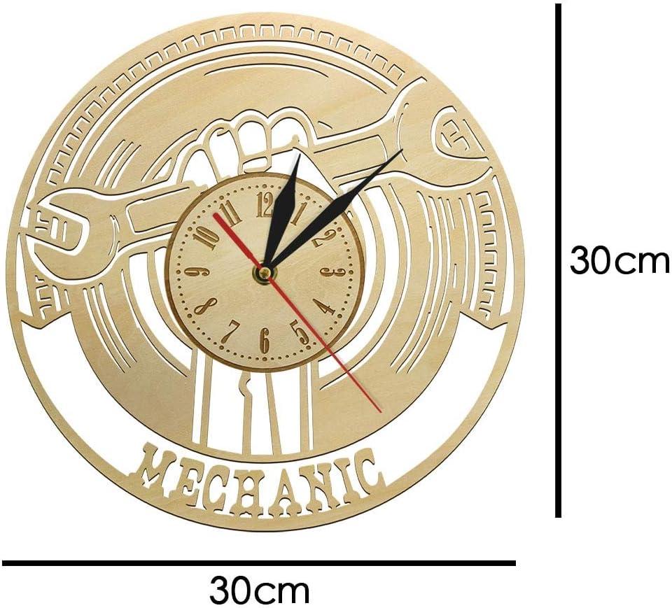 Alklkj Wall Clock Car Mechanic Service Tool Wooden Home Decor Automotive Service Clock Auto Repair Shop Wall Sign Garage Repairman Gift Amazon Co Uk Kitchen Home