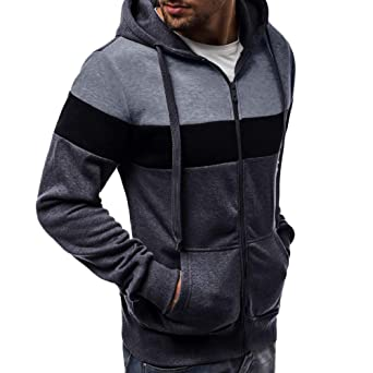 iYBUIA Mens Long Sleeve Autumn Patchwork Big and Tall Hoodies Zipper Top Blouse Tracksuits at Amazon Mens Clothing store: