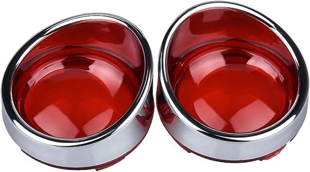 Red Turn Signal Lens Chrome Bezels Visor Fit For Harley Sportster Road King Dyna