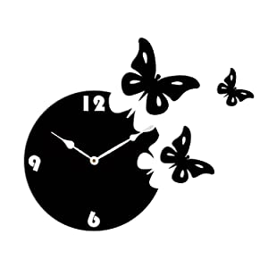 Sehaz Artworks 'Moon Butterfly Asymetric' Wood Wall Clock (27 cm x 27 cm x 4 cm, SZA_PWC-Moon_Butterfly-BlK_White)