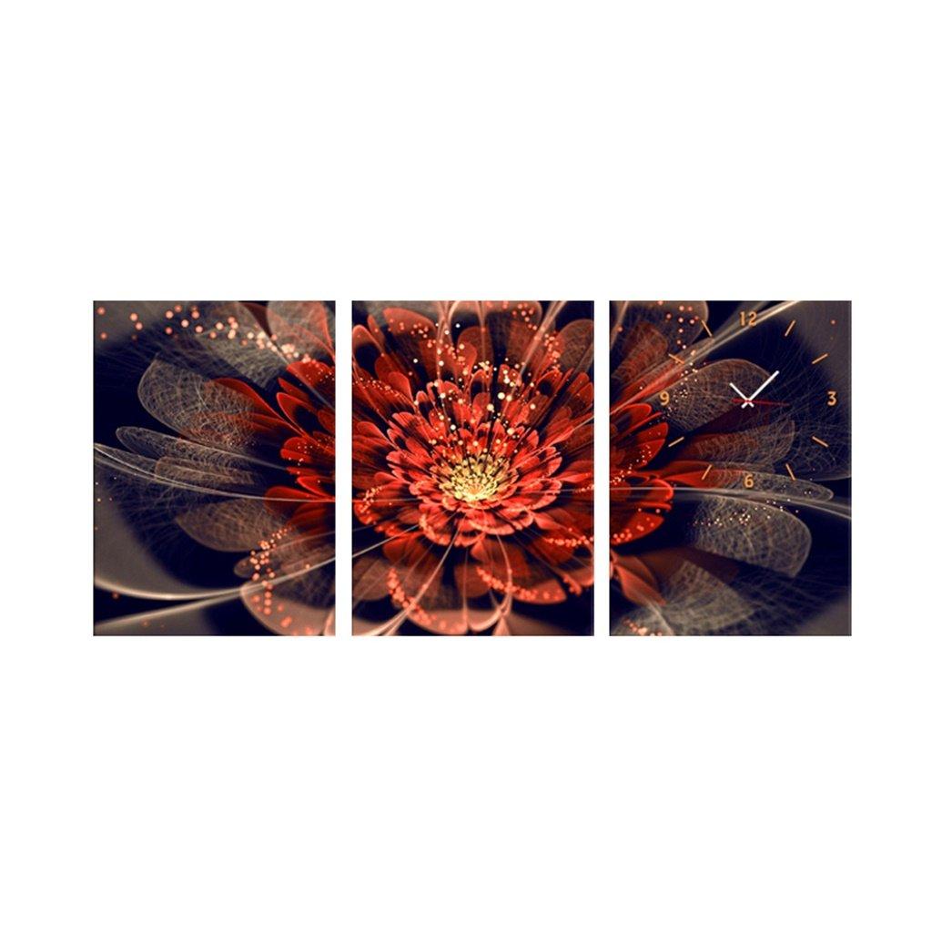 YFF-壁時計 ファッションプリントされた花の壁時計モダンなミニマリストフレームレスペインティングの背景リビングルームのベッドルームレストラン装飾的な壁画絵画アートキャンバスクロック、3つの作品 ( サイズ さいず : 70*50cm ) B07CQY3QZ5 70*50cm 70*50cm