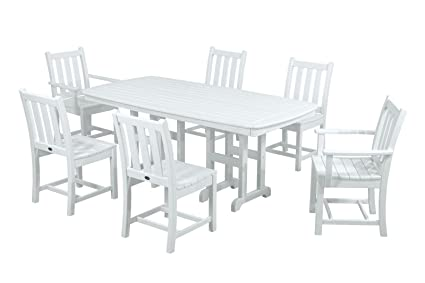 Attirant POLYWOOD PWS133 1 WH Traditional Garden 7 Piece Dining Set, White