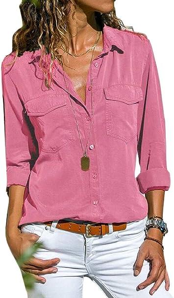 Gocgt - Camisas - Manga Larga - para Mujer Rosa Rosa XXX-Large: Amazon.es: Ropa y accesorios