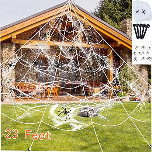 Lakuku Halloween Giant Spider Web, 23 X 18ft Triangular Mega Spider Web for Outdoor Halloween Decor Decoration Outdoor Yard ,Super Stretch Cobweb with 10 Small Fake Spiders (Best Halloween Decorated Yards)