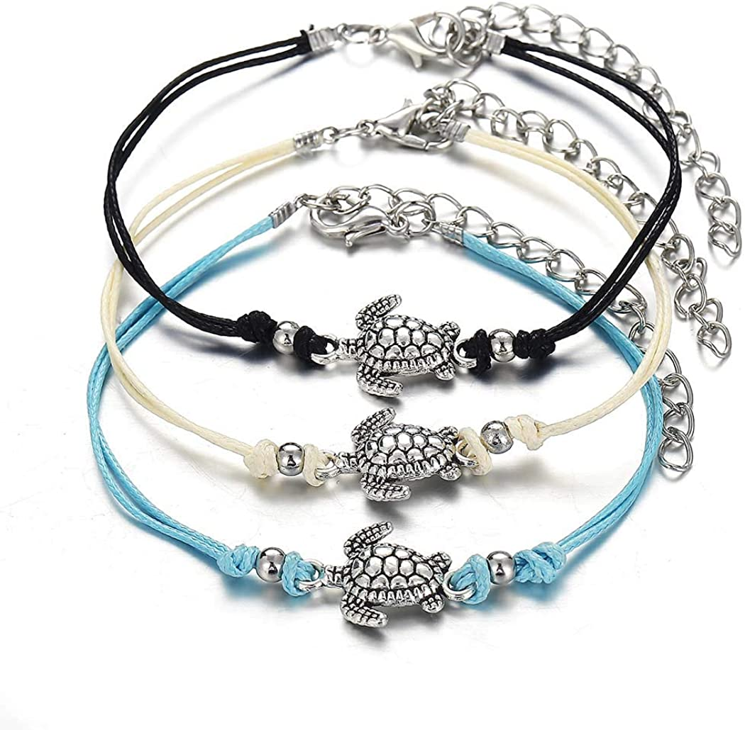 Catery Boho Anklet Chain Turtle Ankle Bracelets Fashion Foot Jewelry for Women and Girls