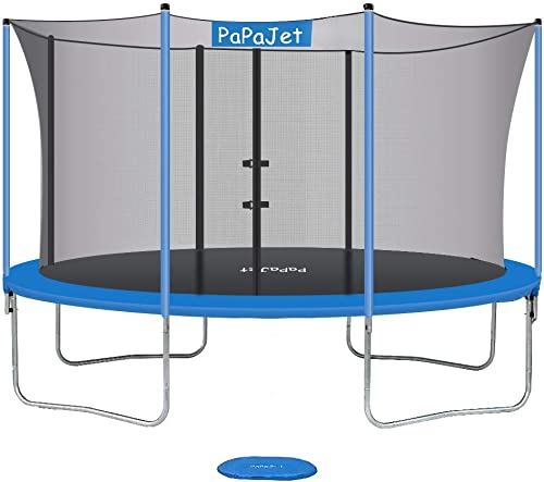 PAPAJET Trampoline 9X14FT Oval Trampolines for Kids with Safety Enclosure Net, Jump Spring Pad, TUV Certificated Large Outdoor Backyard Trampoline