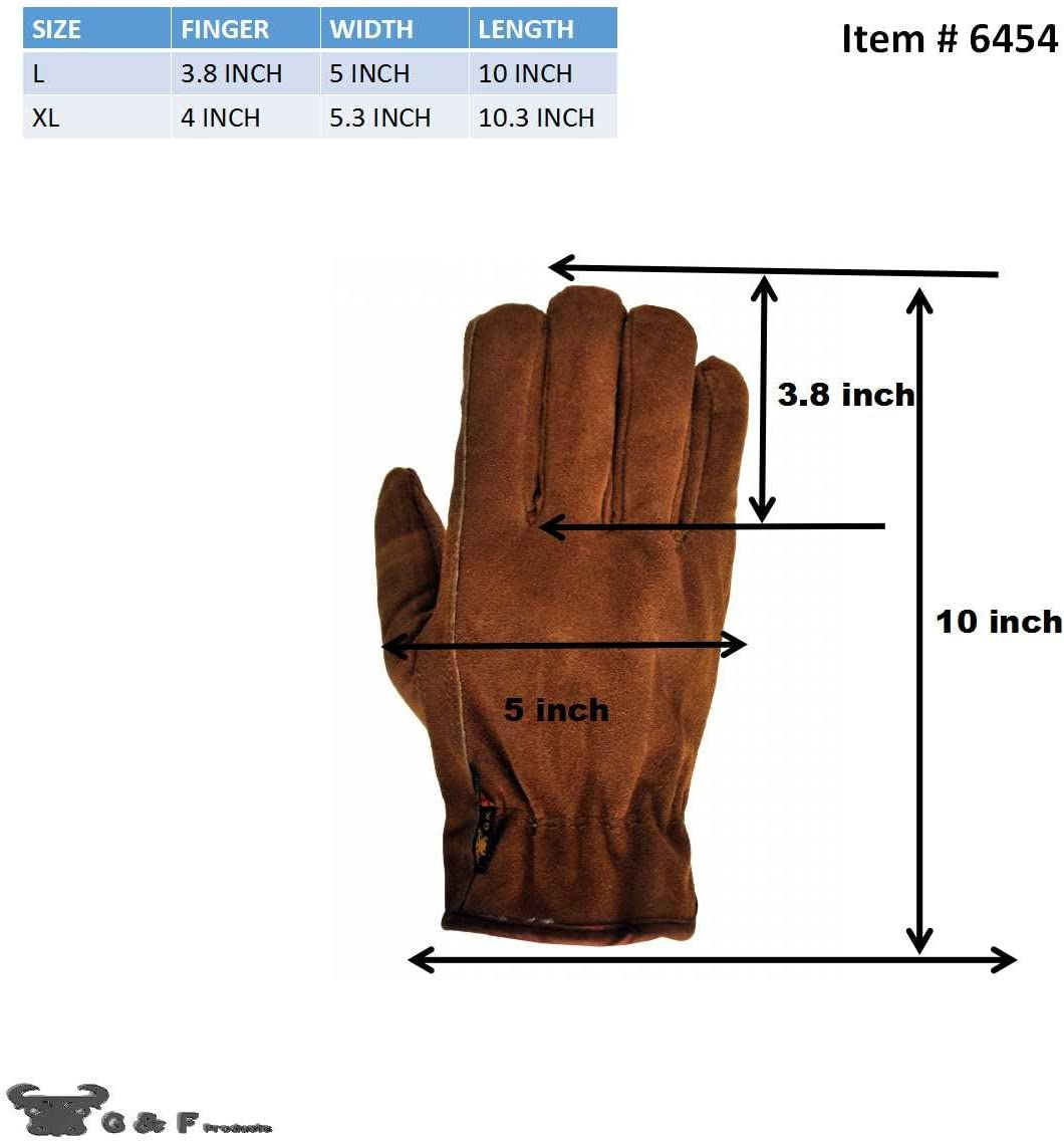 G /& F 6454-3 Suede Cowhide Leather Gloves with Pile Lined Winter Gloves 3 Pair
