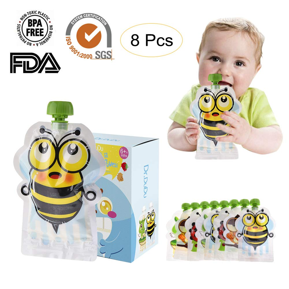 Sameber 8 PCS of BPA-Free Reusable Sealed Complementary Food Pouch Storage Bag Homemade Puree Pulp 150ml Double Zipper Samber