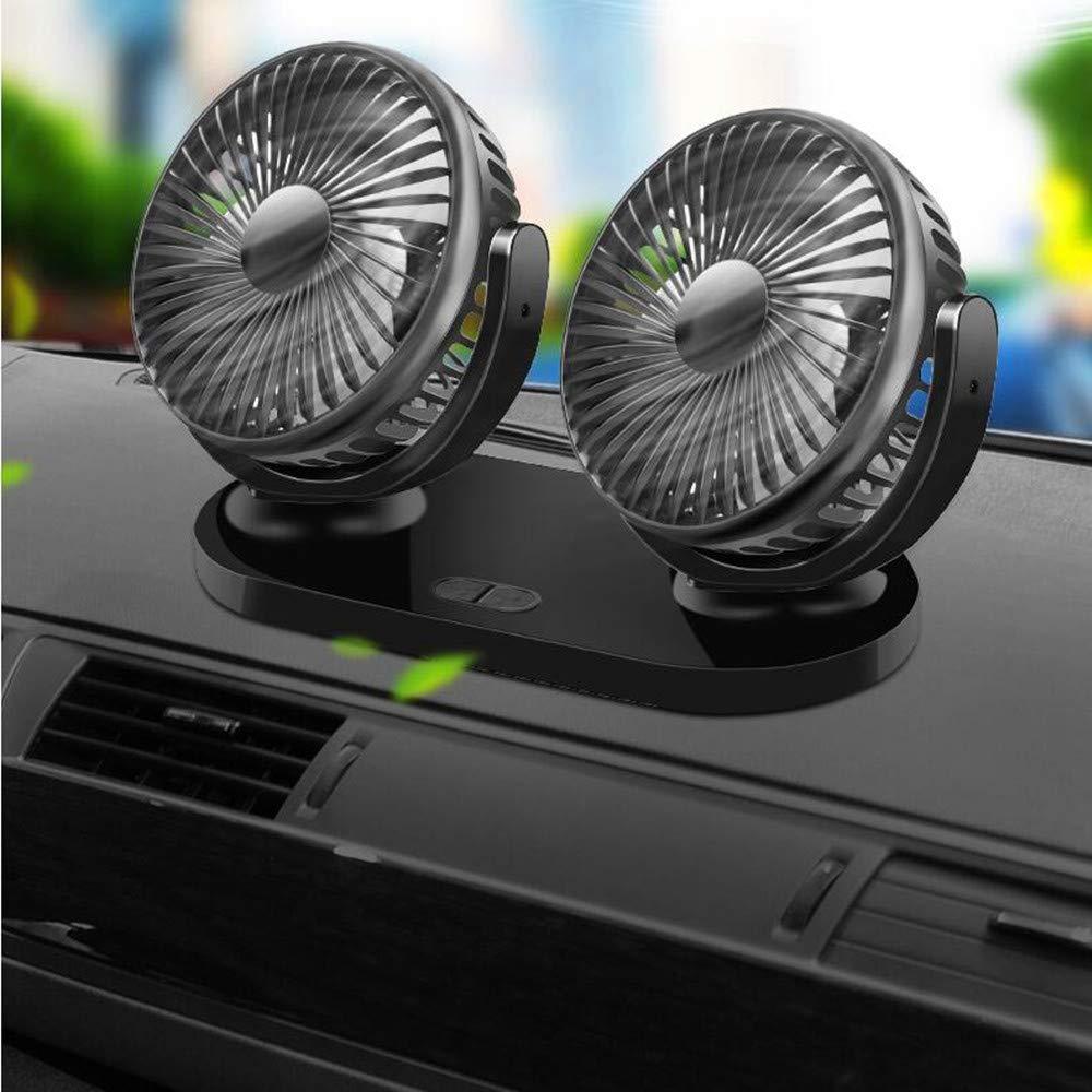 kuaetily Auto Ventilator Auto Kfz L/üfter Doppell/üfter USB Ventilator mit 360 /°-Drehung f/ür Auto B/üro 12V-24V