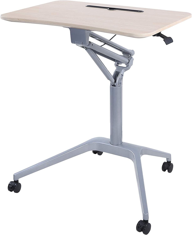 Rolling Adjustable Height Desk for Computer Office Work Kitchen,Standing Desk Laptop Cart Portable Table Mobile Desk with Wheels (Beige)