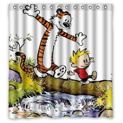 "Custom Waterproof Polyester Fabric Bathroom Shower Curtain with 12 Hooks 60""(w) x 72""(h) Calvin and Hobbes Pattern"