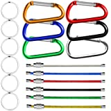 6 Pcs Wire Keychains & 6 Pcs D Shape Aluminum Carabiners with Silver Metal Flat Split Key Rings, SENHAI Spring Snap Clips Hook Buckle for Outdoors Camping, Traveling, Fishing