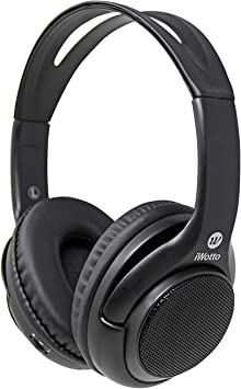 iWotto Auriculares + Altavoces Bluetooth 2 en 1, Inalámbricos, Stereo, Plegables, Manos Libres, Color Negro, Calidad Sonido, sobre Mesa, Ergonómicos, Aislantes de Sonido Exterior: Amazon.es: Electrónica