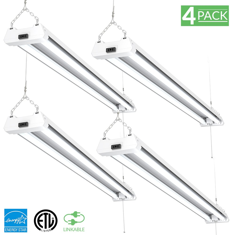Sunco Lighting 4 Pack 4ft 48 inch LED Utility Shop Light 40W (260W Equivalent) 5000K Kelvin Daylight, 4100 Lumens, Double Integrated Linkable Garage Ceiling Fixture, Frosted - Energy Star/ETL Listed by Sunco Lighting