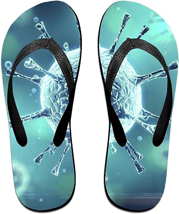 Pantuflas para Parejas con Estampado de Virus de Medicina Unisex Chic, Sandalias de Goma Antideslizantes para Playa, Color Negro, Talla Medium: Amazon.es: Zapatos y complementos