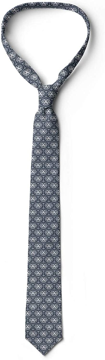 3.7 Floral Eastern Ornate Ambesonne Mens Tie Charcoal Grey Dark Blue