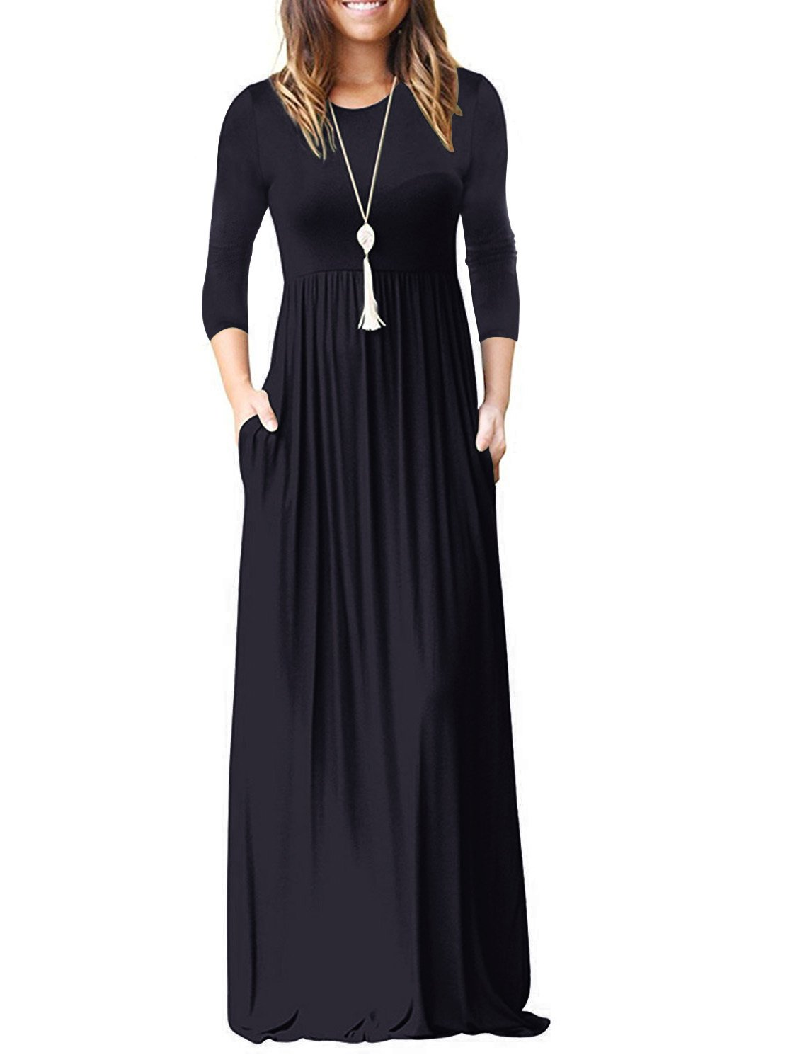 Adreamly Women's 3/4 Sleeve Loose Plain Long Dresses Casual Maxi Dress with Pockets Navy Blue 2X-Large