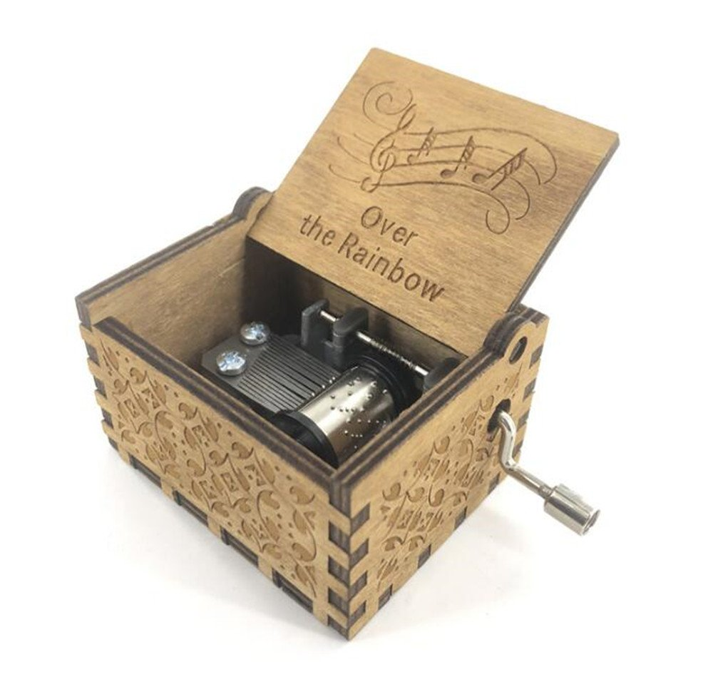 Cuzit Antique Carved Over the Rainbow Music Box Christmas Gift Birthday Gift Party Supply Hand Crank Wooden Musical Toy