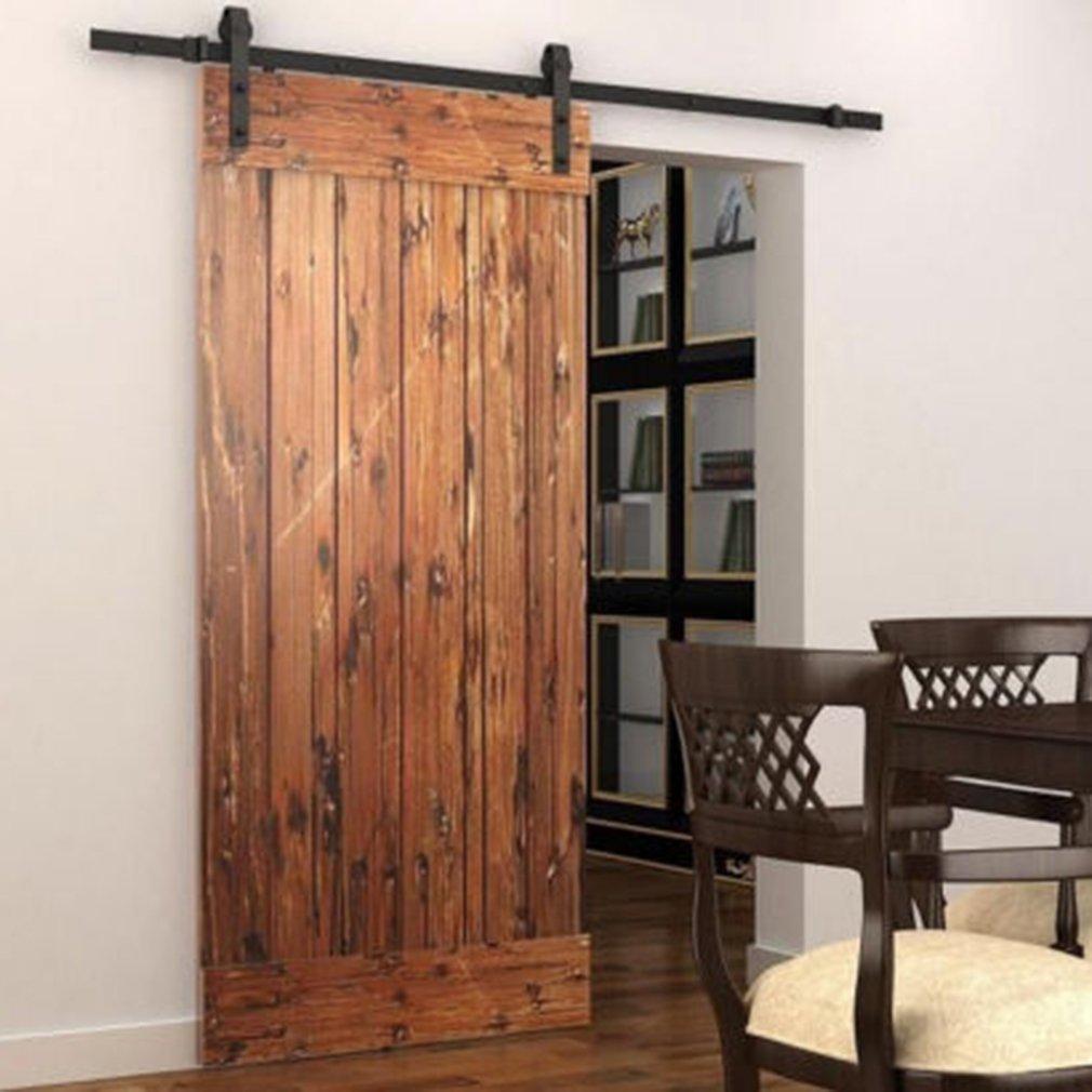 Sliding Barn Door Hardware Kit 5.5ft Hanging Rail Type Sturdy Door Hardware Closet Set Sliding Door Hardware