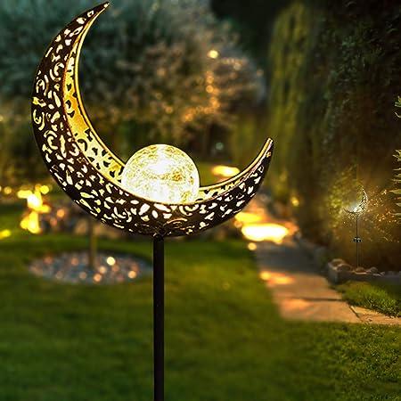 Retro Solar Moon Flame Light,Outdoor Waterproof Path Light Led Lantern Crackle Globe Lamp Iron Garden Decorative Landscape Light for Patio Garden Lawn Courtyard Path
