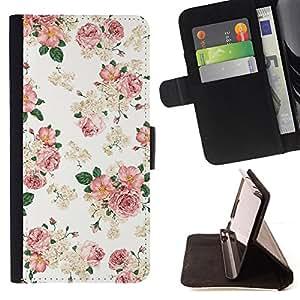 - Floral Pink Wallpaper White Retro Style Vintage - - Monedero PU titular de la tarjeta de cr????dito de cuero cubierta de la caja de la bolsa FOR Apple Iphone 4 / 4S RetroCandy