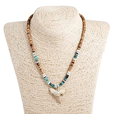 Shark Tooth Pendant on Tiger Coconut Wood Beads Necklace with Green Heishi and Puka Shells (1S Shark - Coconut Shell Pendant
