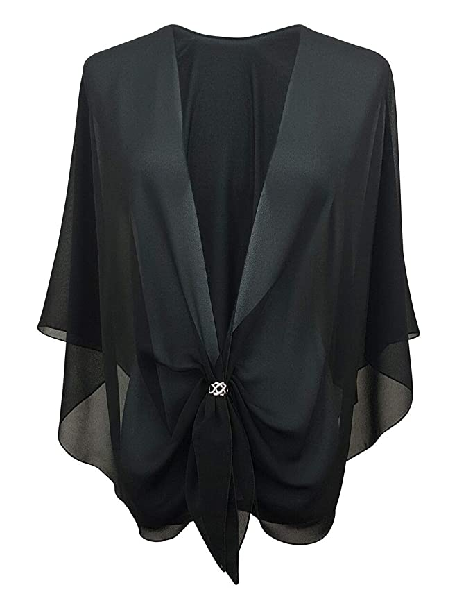 Shawls & Wraps | Fur Stole, Lace, Fringe eXcaped Womens Evening Dress Shawl Wrap and Scarf Ring Set | Sheer Chiffon Cape $39.95 AT vintagedancer.com