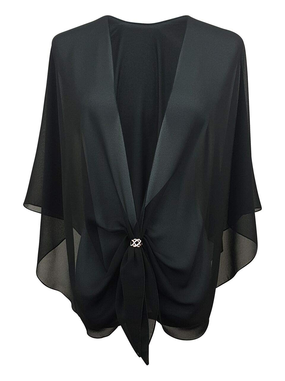 eXcaped Women's Evening Shawl Wrap Sheer Chiffon Open Front Cape and Silver Scarf Ring (Black)