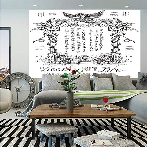SoSung Occult Decor Wall Mural,Gothic Medieval Magic and Spell Symbols Eternal Life Ritual Chart Art Theme,Self-Adhesive Large Wallpaper for Home Decor 83x120 inches,White Black (Window Panel Chart Size)