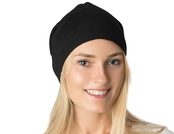 AN- Fleece Lined Jersey Beanie Hat Black Men Women Fall Winter Stretchy Soft 8a30aff3eafd
