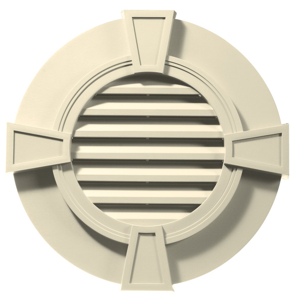 Builders Edge 120033030020 30'' Round Octagon Vent Wide Ring and Keystones 020, Heritage Cream
